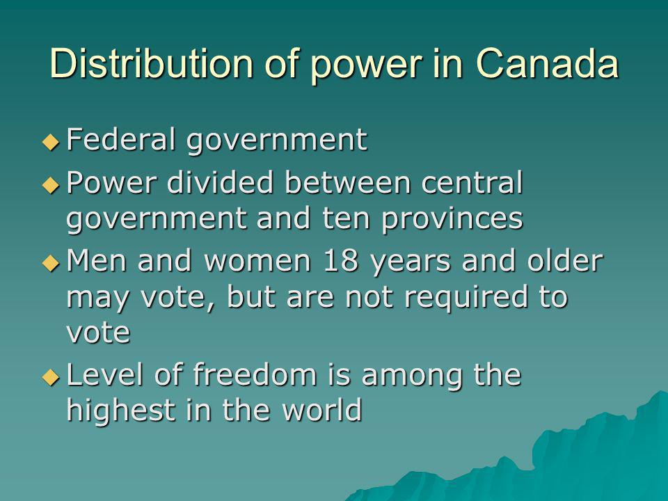 Distribution of power in Canada