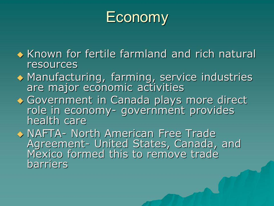 Economy Known for fertile farmland and rich natural resources