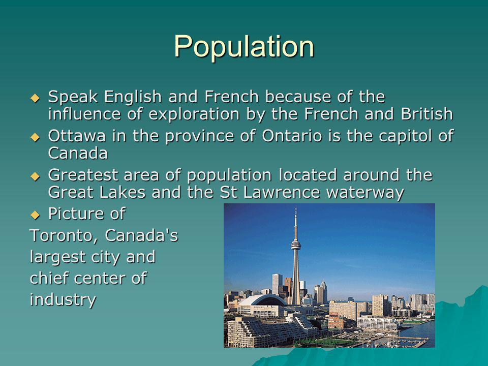 Population Speak English and French because of the influence of exploration by the French and British.