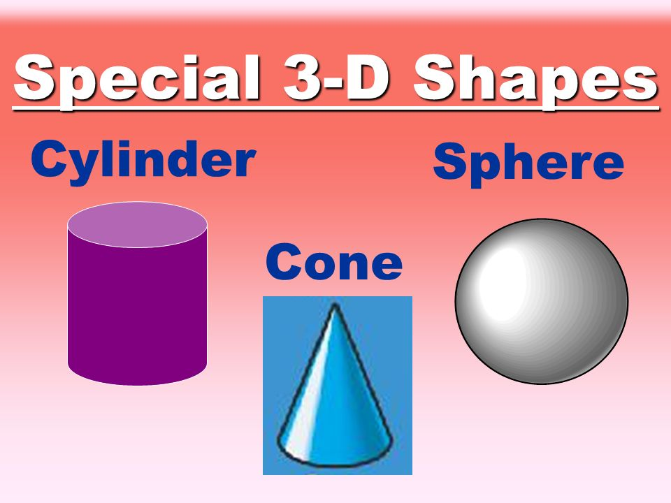 Special 3-D Shapes Cylinder Sphere Cone