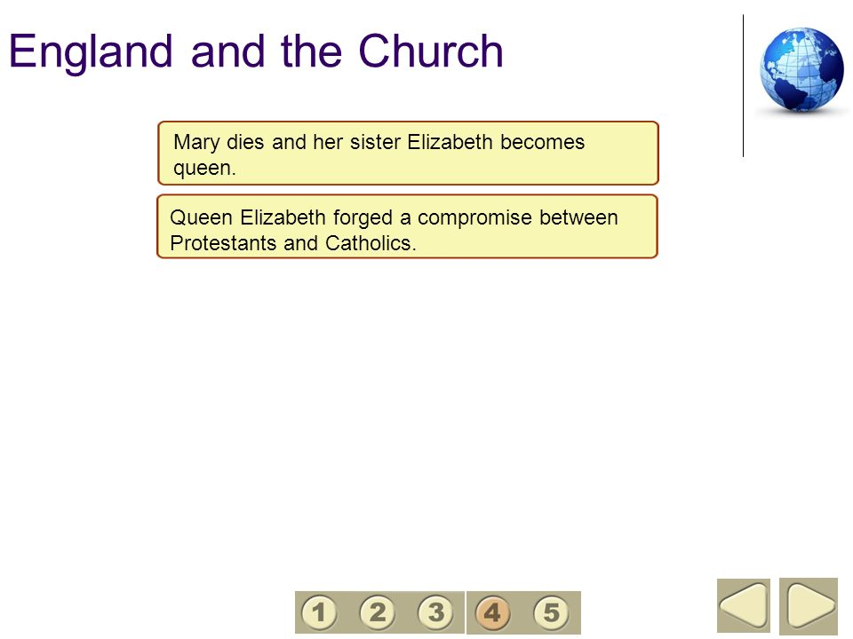 England and the Church 4. Mary dies and her sister Elizabeth becomes queen. Queen Elizabeth forged a compromise between.