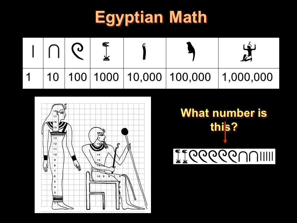 Egyptian Math 1 10 100 1000 10,000 100,000 1,000,000 What number is this