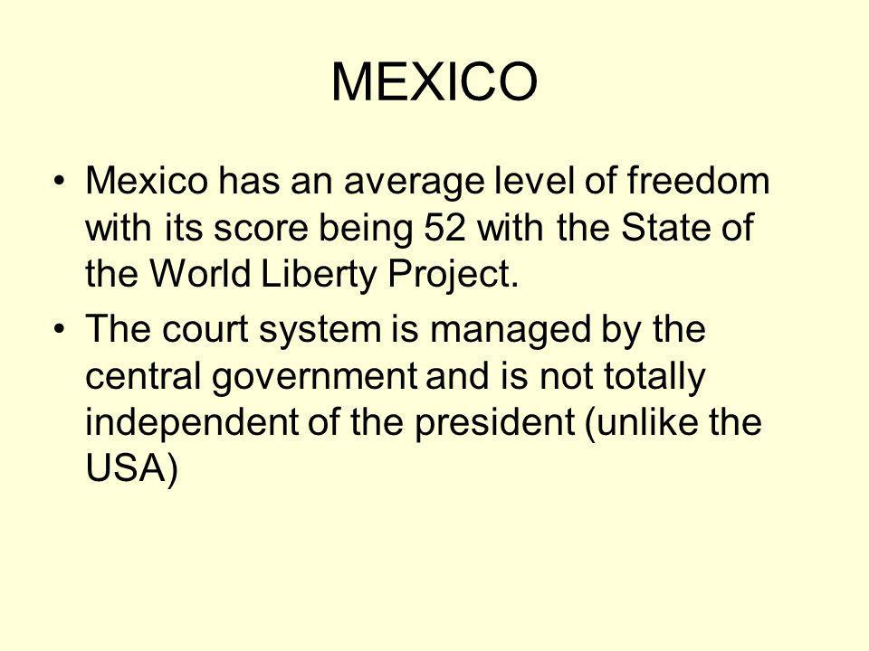 MEXICO Mexico has an average level of freedom with its score being 52 with the State of the World Liberty Project.