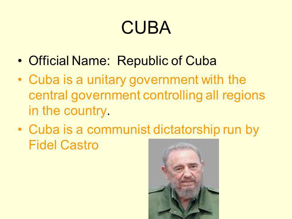CUBA Official Name: Republic of Cuba