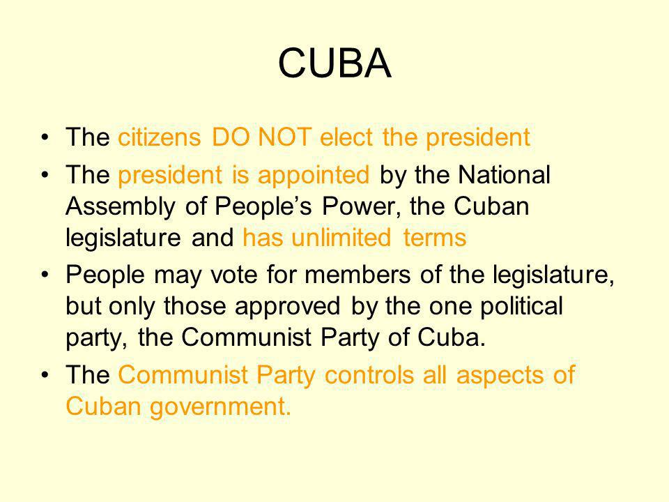 CUBA The citizens DO NOT elect the president