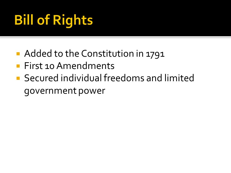 Bill of Rights Added to the Constitution in 1791 First 10 Amendments
