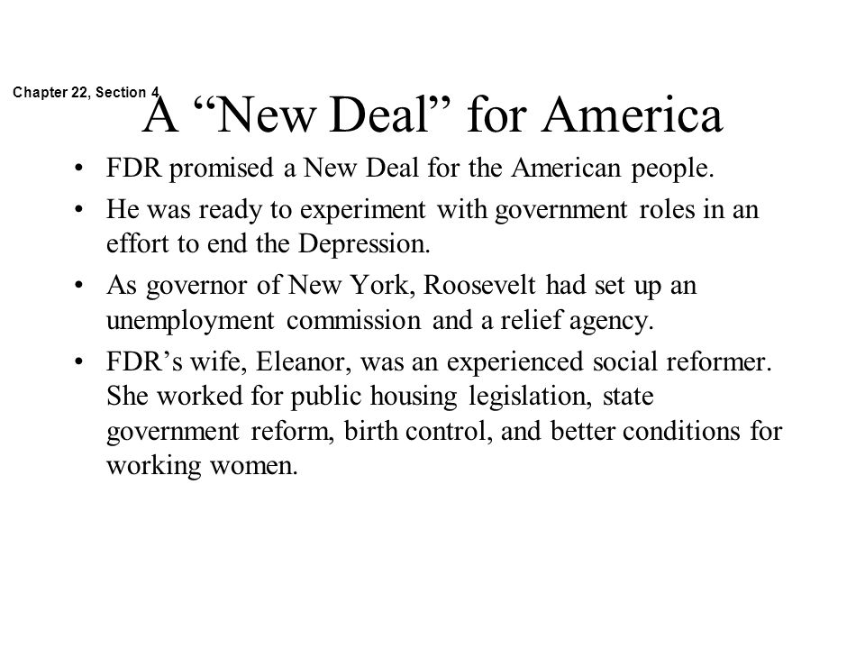 A New Deal for America