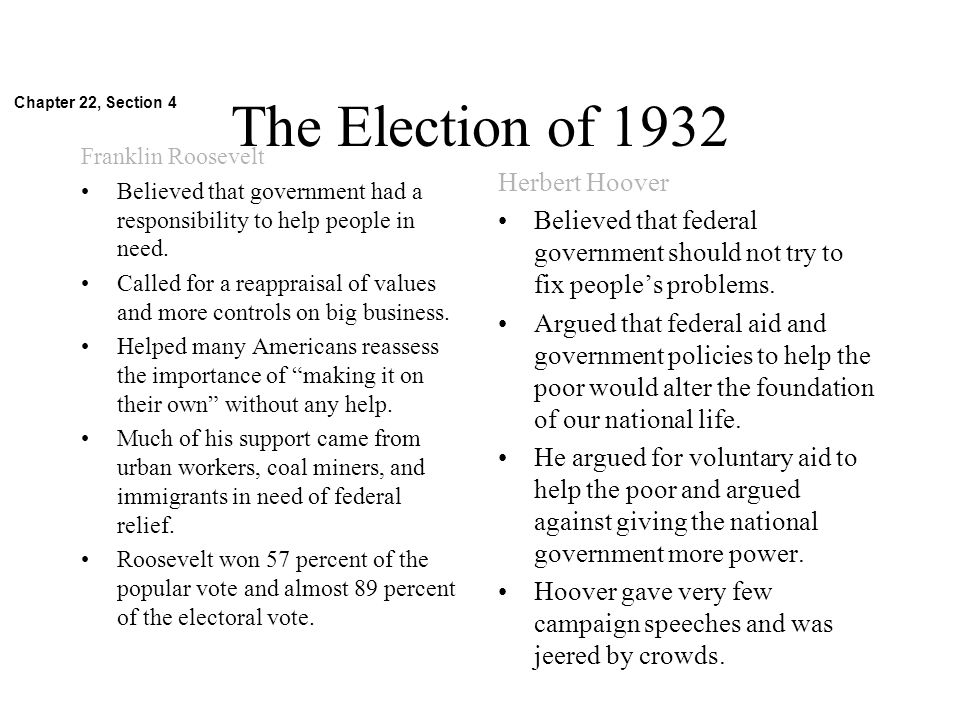 The Election of 1932 Herbert Hoover
