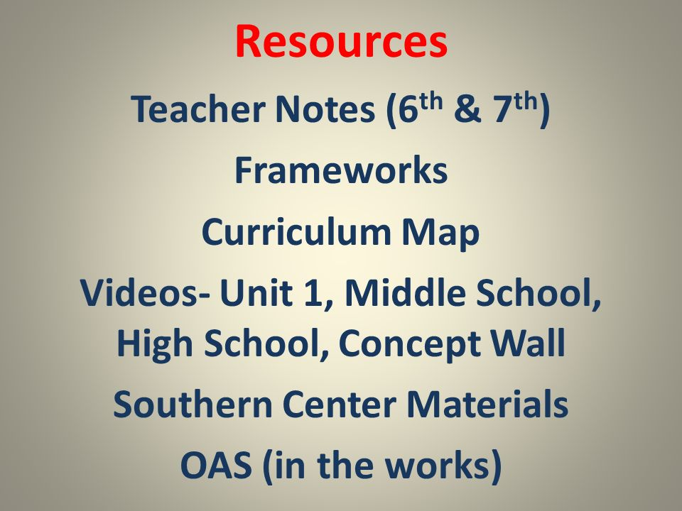 Resources Teacher Notes (6th & 7th) Frameworks Curriculum Map