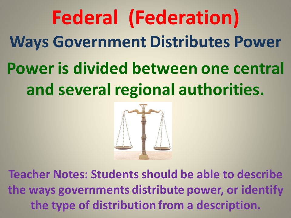 Federal (Federation) Ways Government Distributes Power