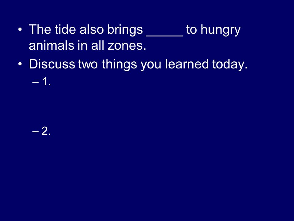 The tide also brings _____ to hungry animals in all zones.