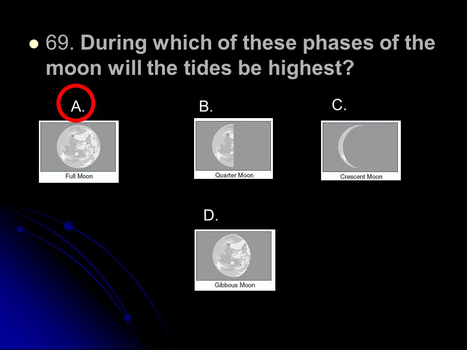 69. During which of these phases of the moon will the tides be highest