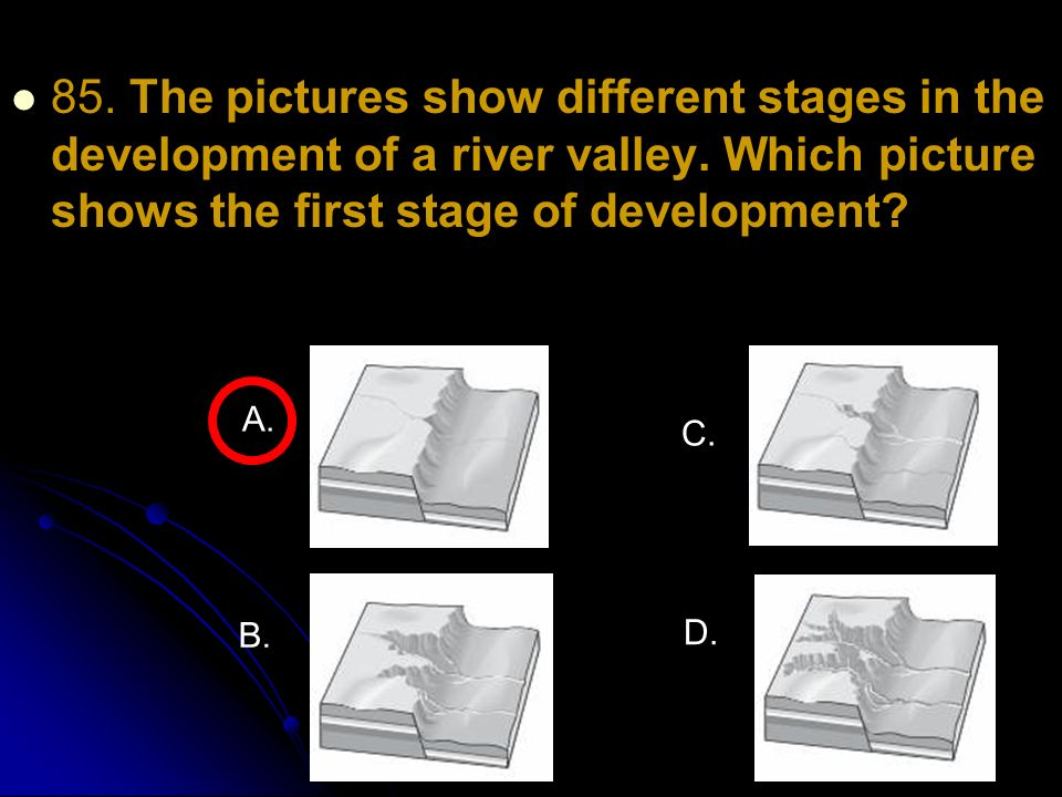 85. The pictures show different stages in the development of a river valley. Which picture shows the first stage of development