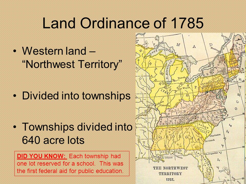 Land Ordinance of 1785 Western land – Northwest Territory