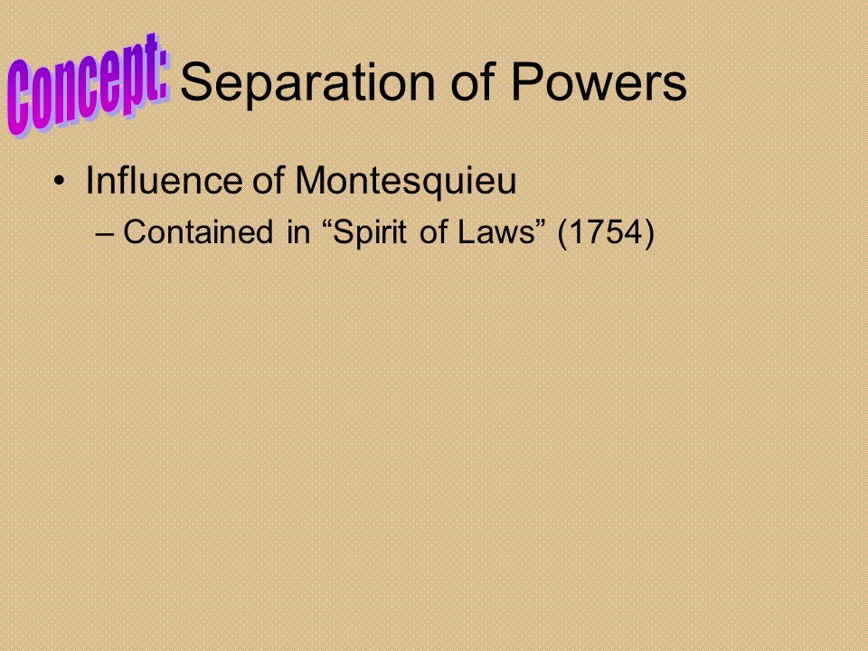 Separation of Powers Concept: Influence of Montesquieu