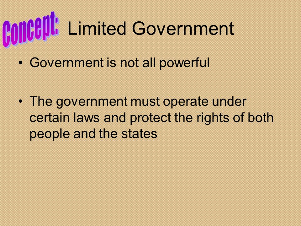 Limited Government Concept: Government is not all powerful