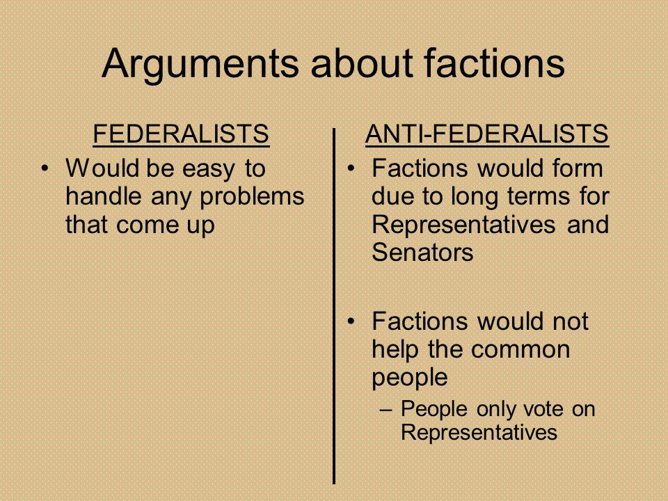 Arguments about factions