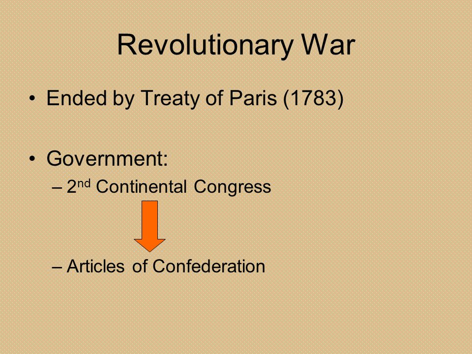 Revolutionary War Ended by Treaty of Paris (1783) Government: