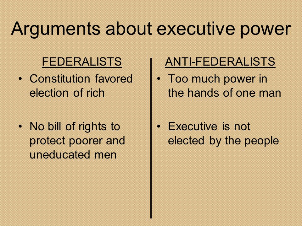 Arguments about executive power