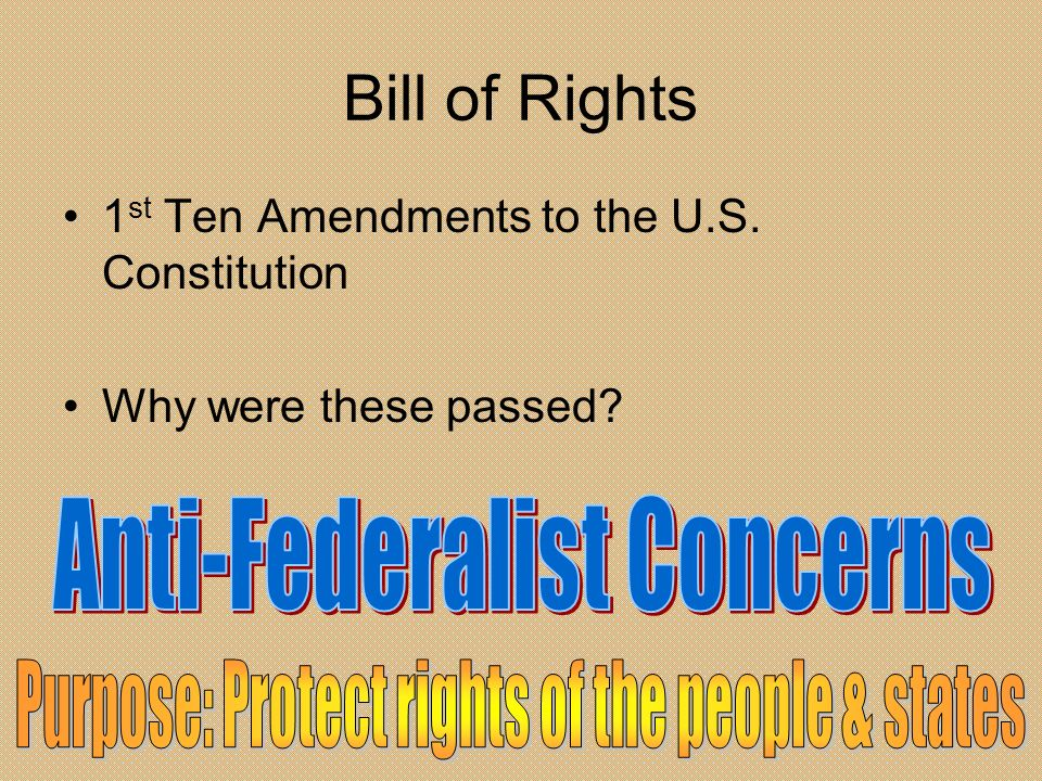 Bill of Rights Anti-Federalist Concerns