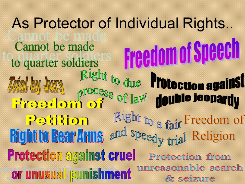 As Protector of Individual Rights..