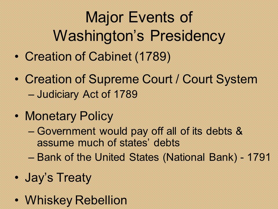 Major Events of Washington's Presidency