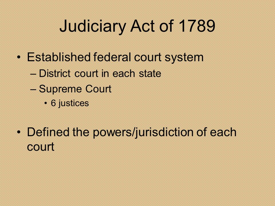 Judiciary Act of 1789 Established federal court system