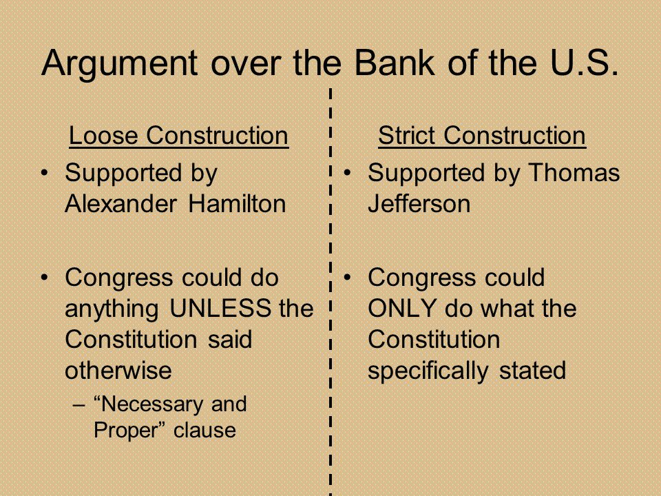 Argument over the Bank of the U.S.