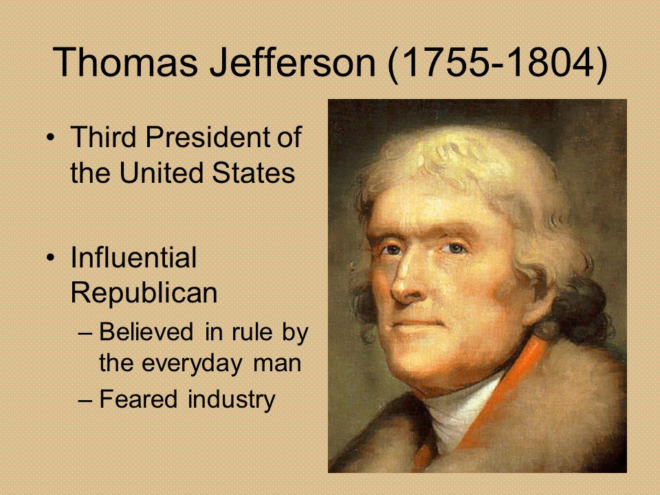 Thomas Jefferson ( ) Third President of the United States
