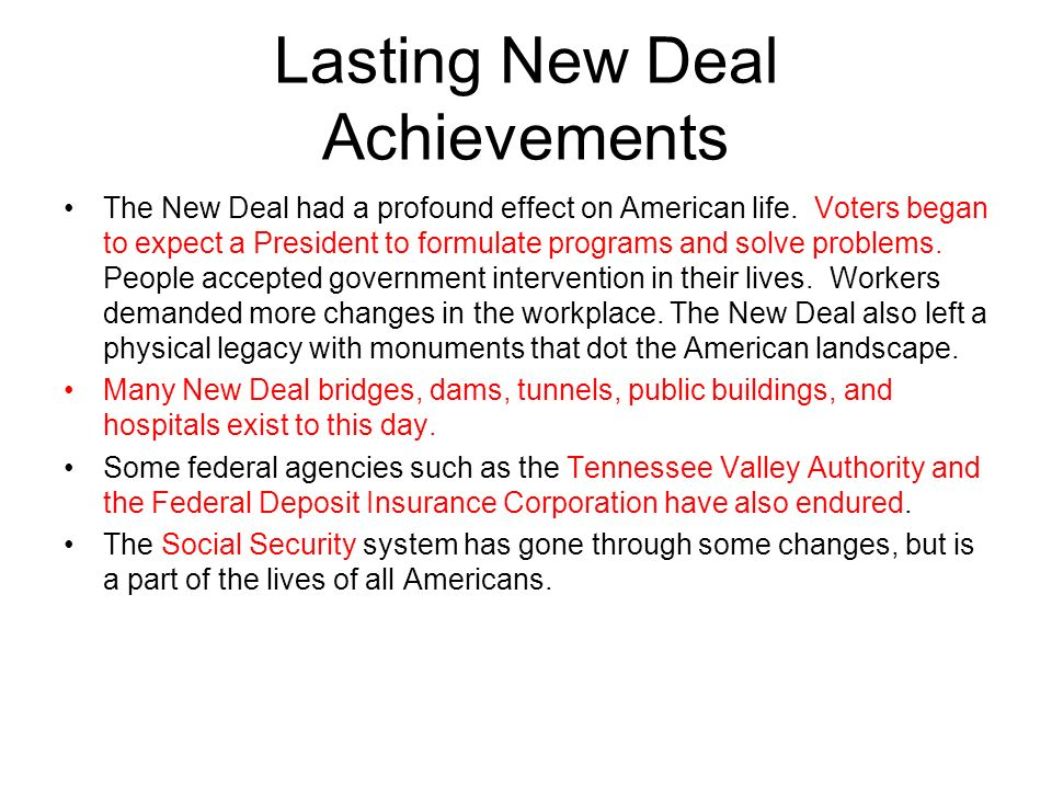 Lasting New Deal Achievements