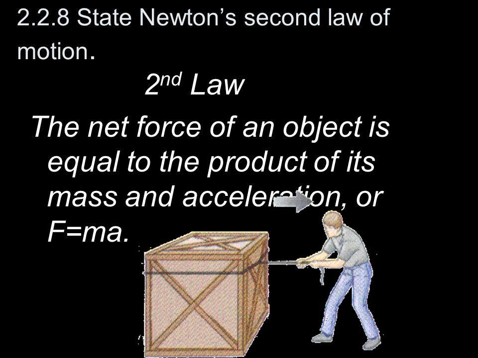2.2.8 State Newton's second law of motion.