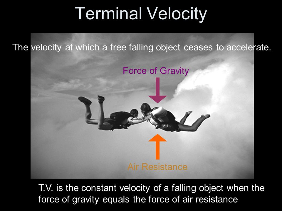 Terminal VelocityThe velocity at which a free falling object ceases to accelerate. Force of Gravity.
