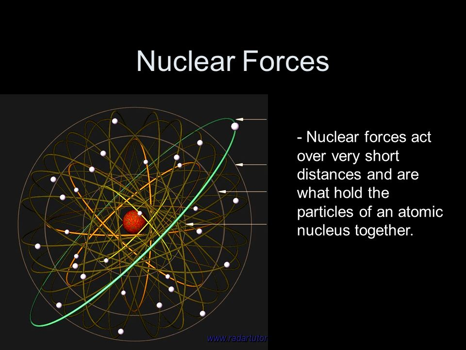 Nuclear Forces- Nuclear forces act over very short distances and are what hold the particles of an atomic nucleus together.