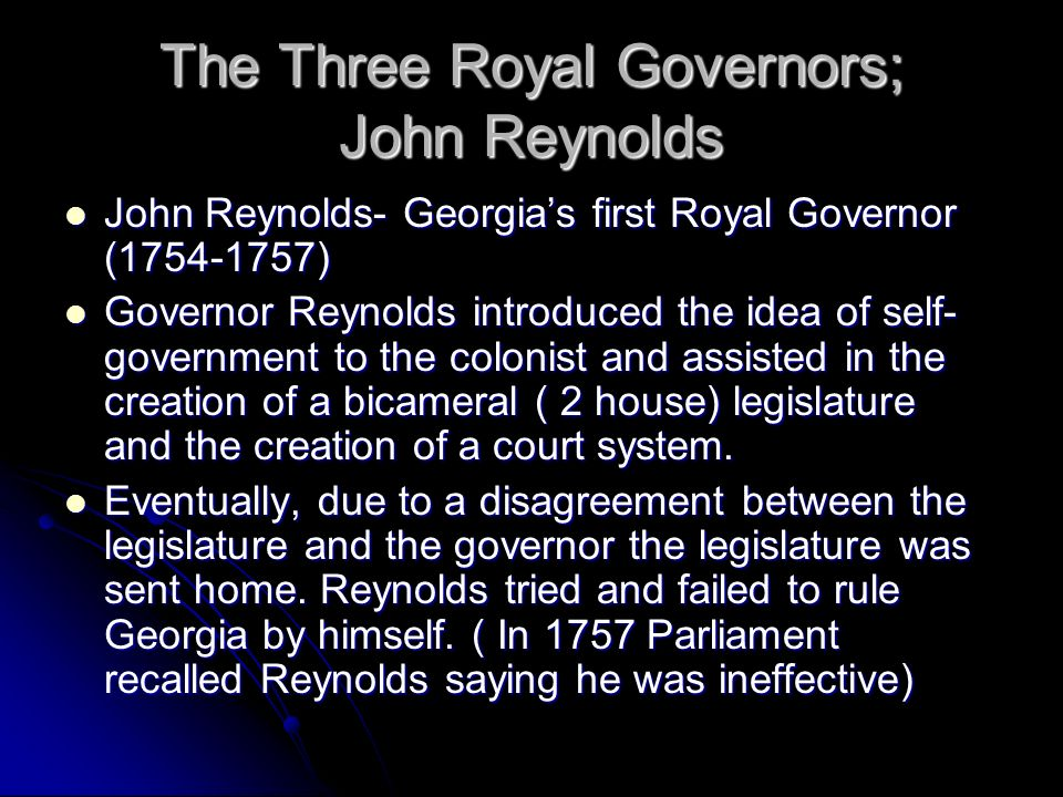 The Three Royal Governors; John Reynolds