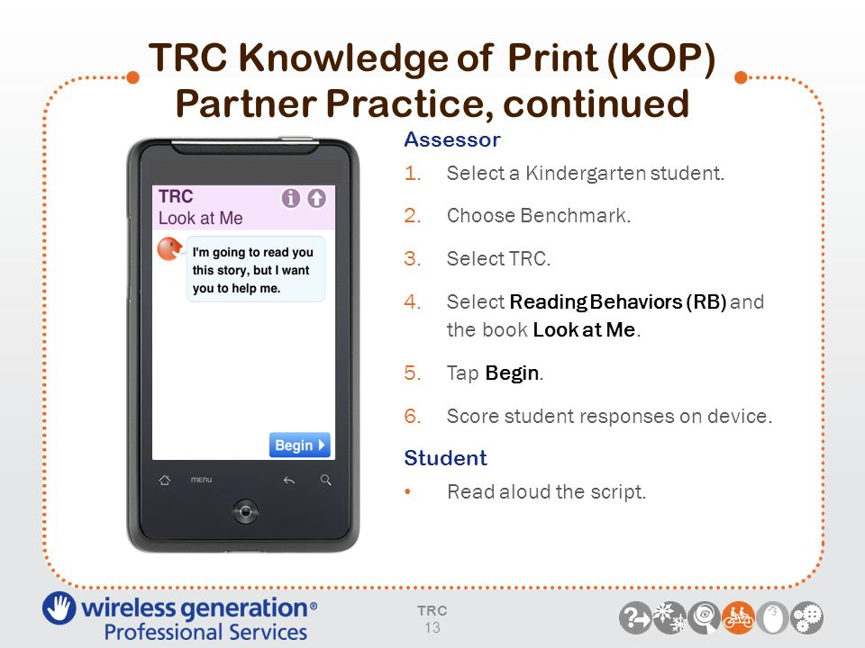 TRC Knowledge of Print (KOP) Partner Practice, continued
