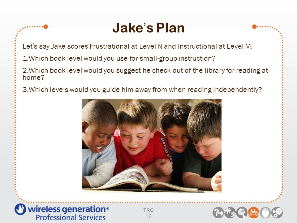 Jake's Plan Let's say Jake scores Frustrational at Level N and Instructional at Level M. Which book level would you use for small-group instruction