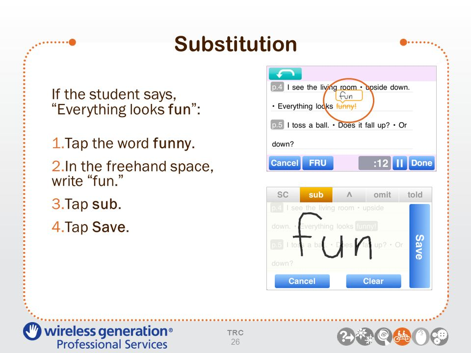 Substitution If the student says, Everything looks fun :