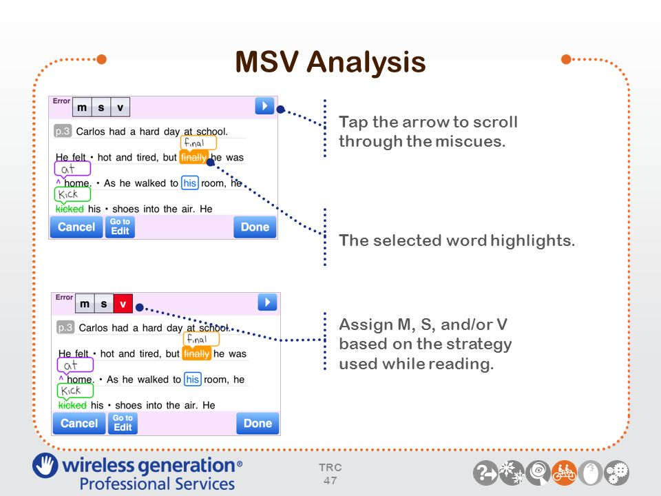 MSV Analysis Tap the arrow to scroll through the miscues.