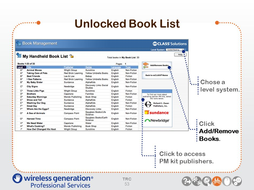 Unlocked Book List Chose a level system. Click Add/Remove Books.