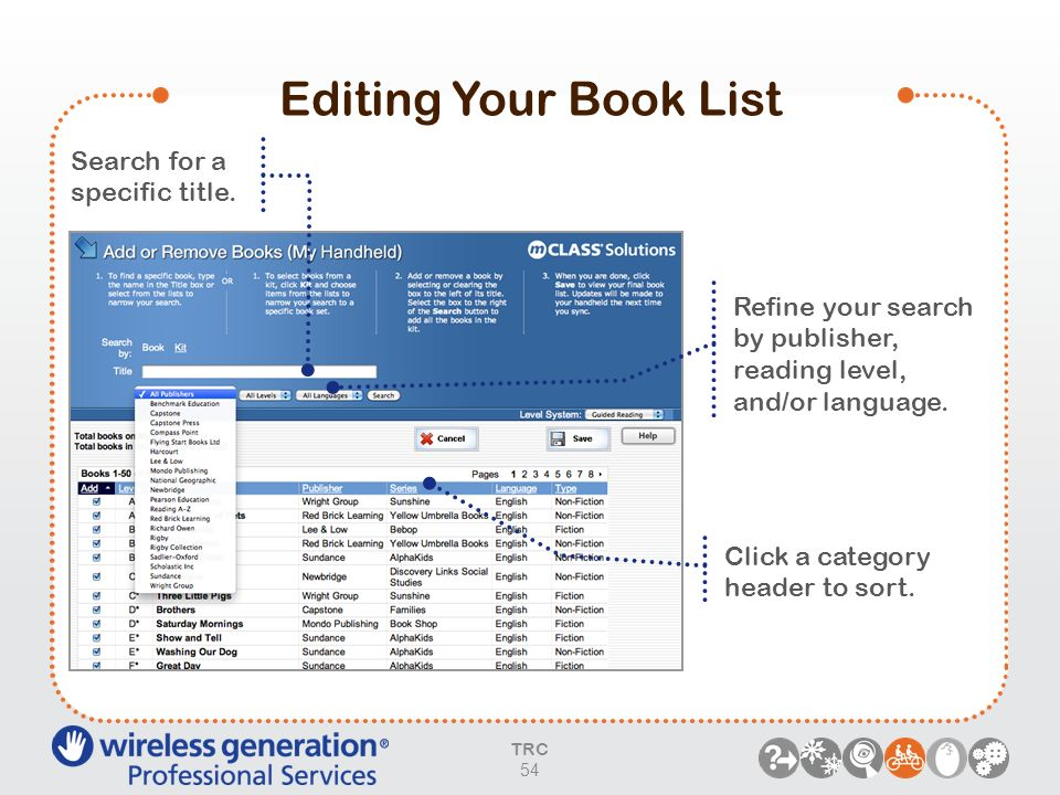 Editing Your Book List Search for a specific title. Refine your search