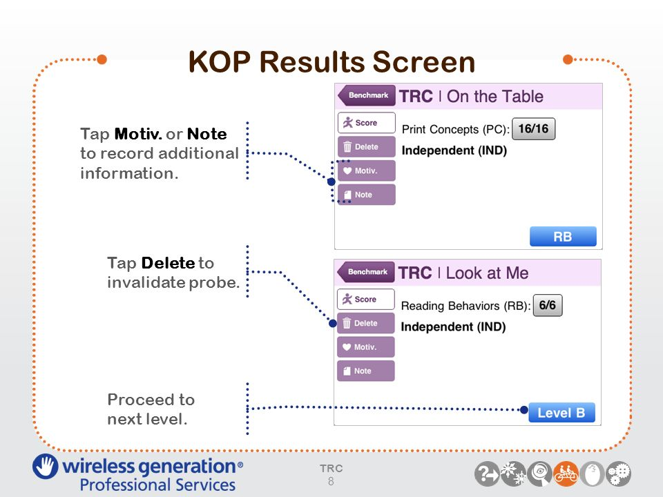 KOP Results ScreenTap Motiv. or Note to record additional information. Tap Delete to. invalidate probe.