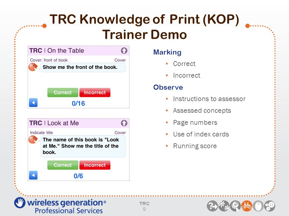 TRC Knowledge of Print (KOP) Trainer Demo