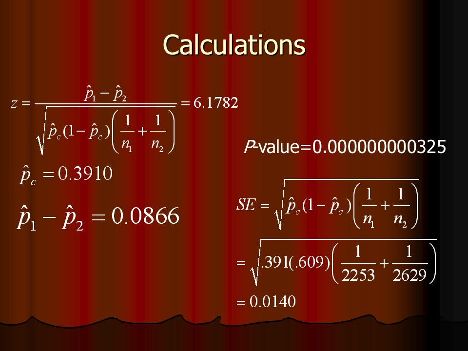 Calculations P-value=0.000000000325