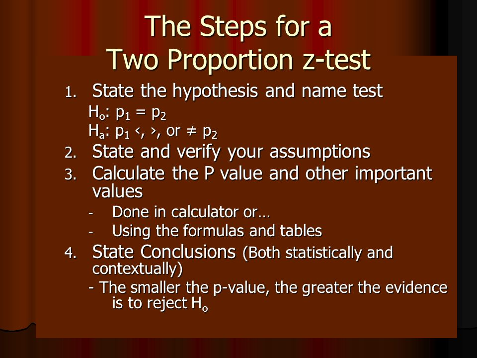 The Steps for a Two Proportion z-test