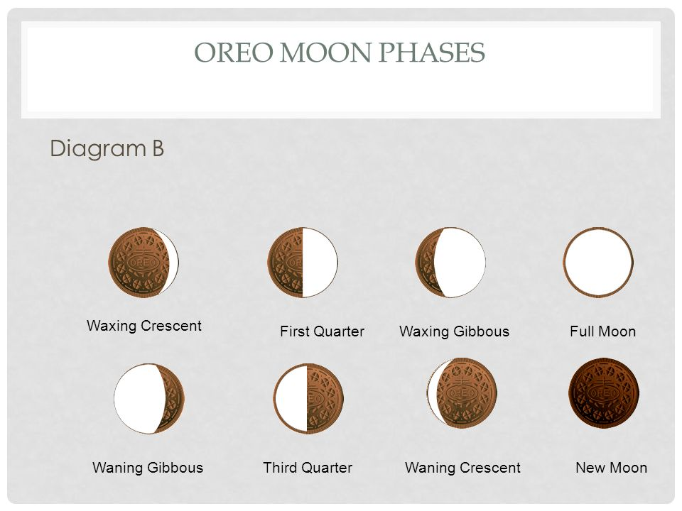 Oreo Moon Phases Diagram B Waxing Crescent First Quarter