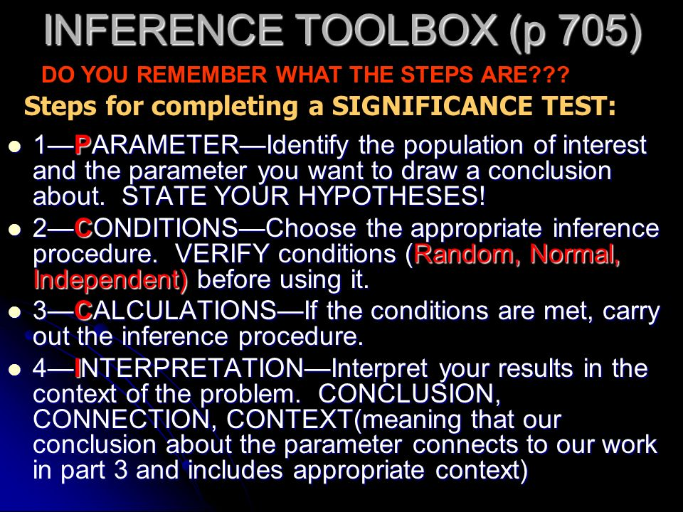 INFERENCE TOOLBOX (p 705) Steps for completing a SIGNIFICANCE TEST: