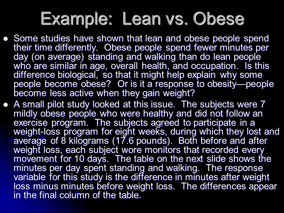 Example: Lean vs. Obese