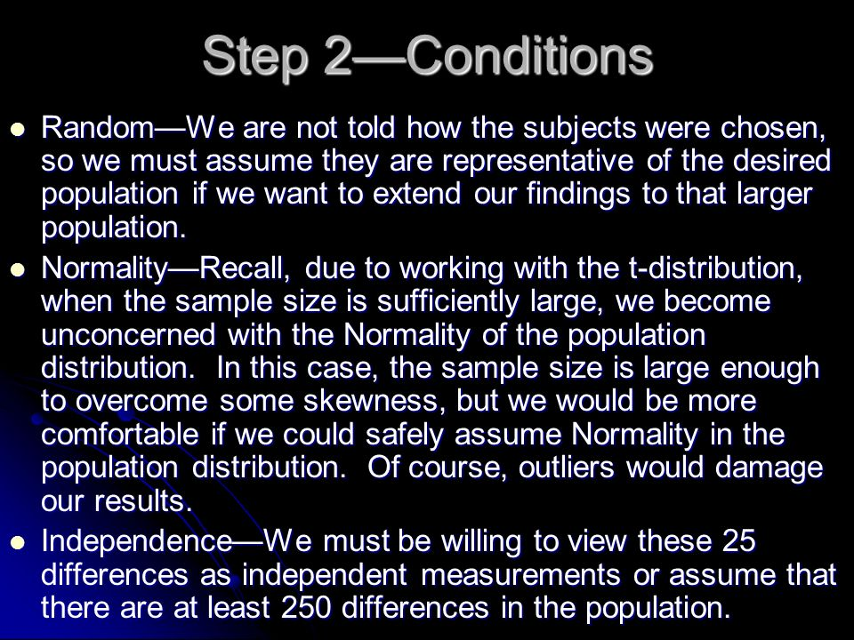 Step 2—Conditions