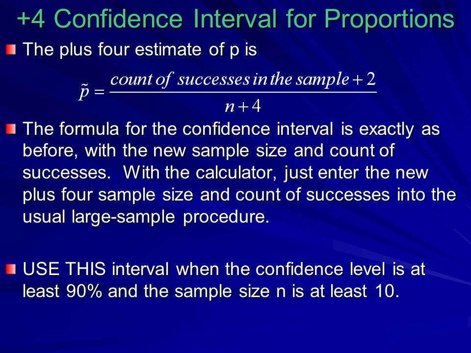 +4 Confidence Interval for Proportions