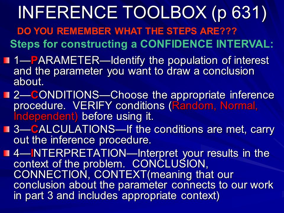 INFERENCE TOOLBOX (p 631) DO YOU REMEMBER WHAT THE STEPS ARE Steps for constructing a CONFIDENCE INTERVAL: